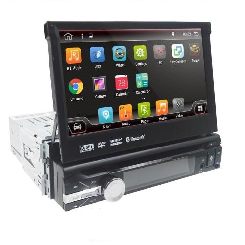 7 инча Универсална Авто Мултимедия с Андроид, падащ панел, Навигация, Bluetooth, Видео паркиране, SD, USB, единичен дин